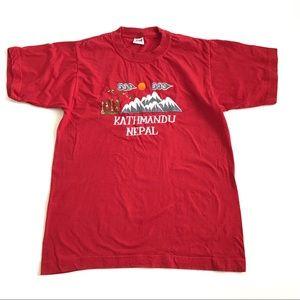 Mens M vtg t shirt Kathmandu Nepal mountain embroi